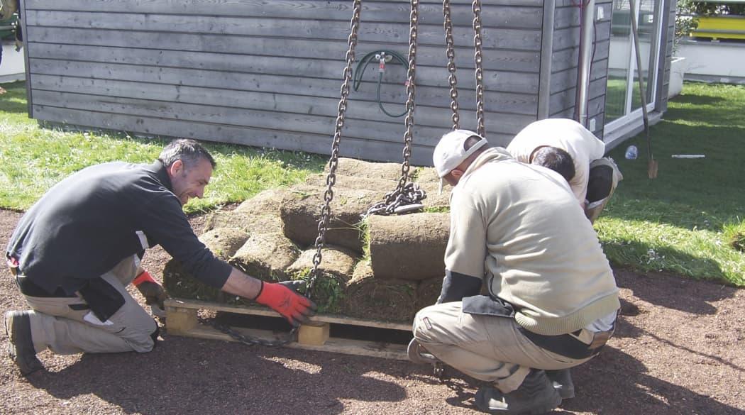 zwei Männer arbeiten an einem Dachgarten