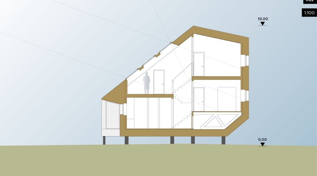Querschnitt eines Passivhauses