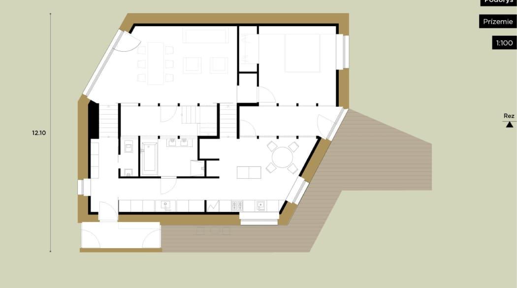Grundriss eines Passivhauses, Erdgeschoss