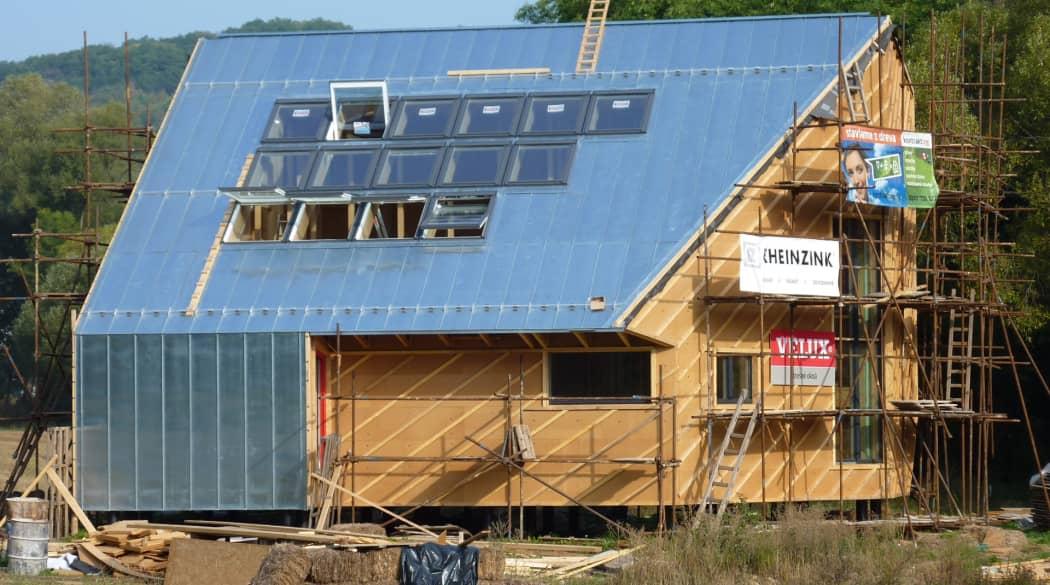 Baustelle: Ein Passivhaus mit entsteht