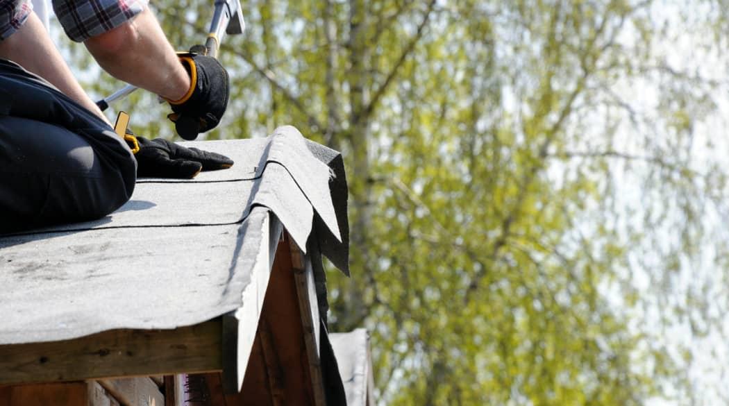 Mann nagelt Dachpappe auf ein Gartenhaus