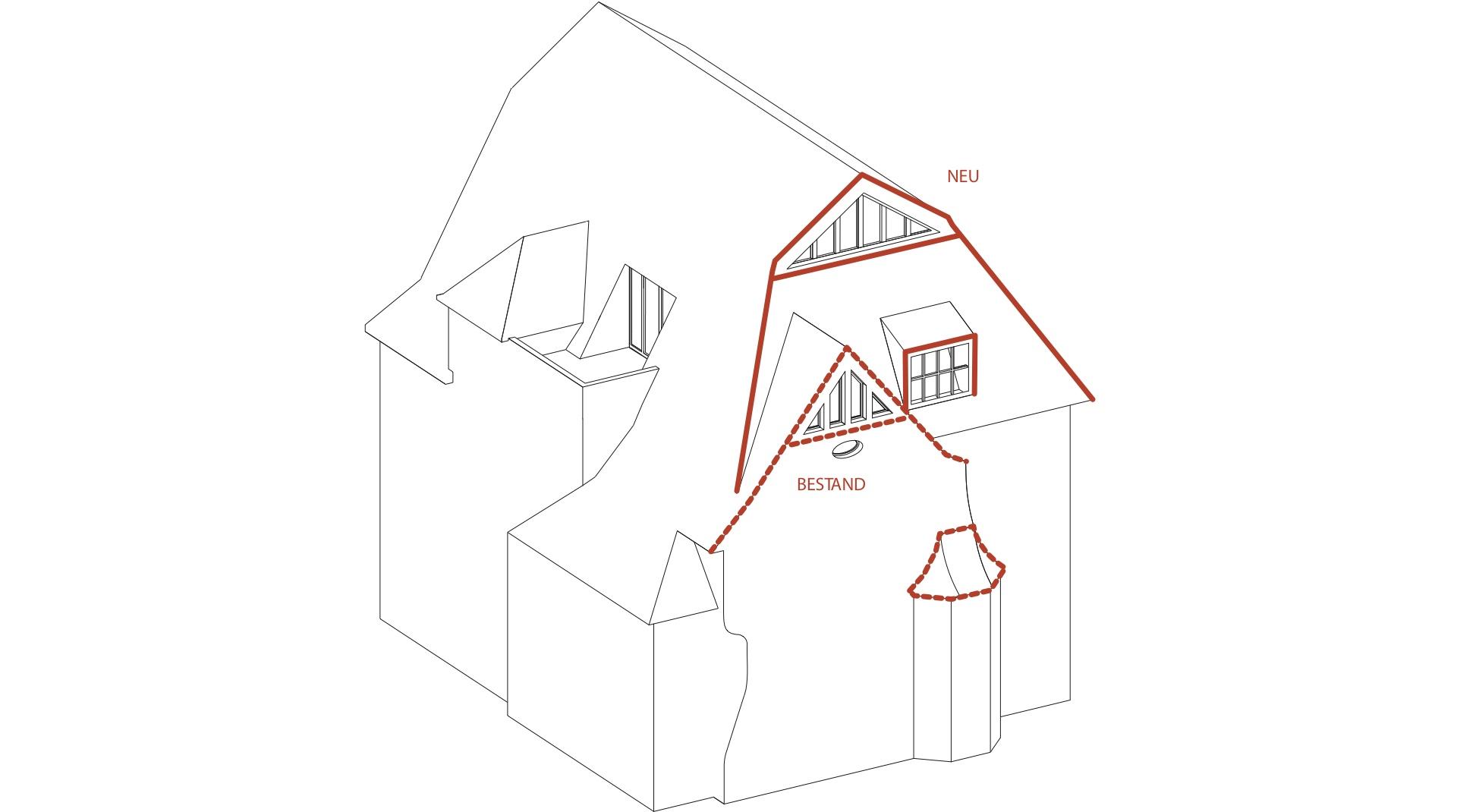Gründerzeitvilla mit Dacherweiterung: schematische Darstellung der Dacherweiterung