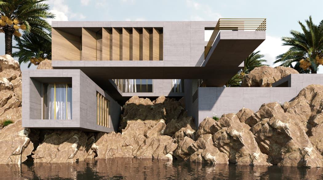 Häuser der Zukunft: Das Rocky Shore House von Wafai, ein kubistischer Bau auf felsigem Flussufer
