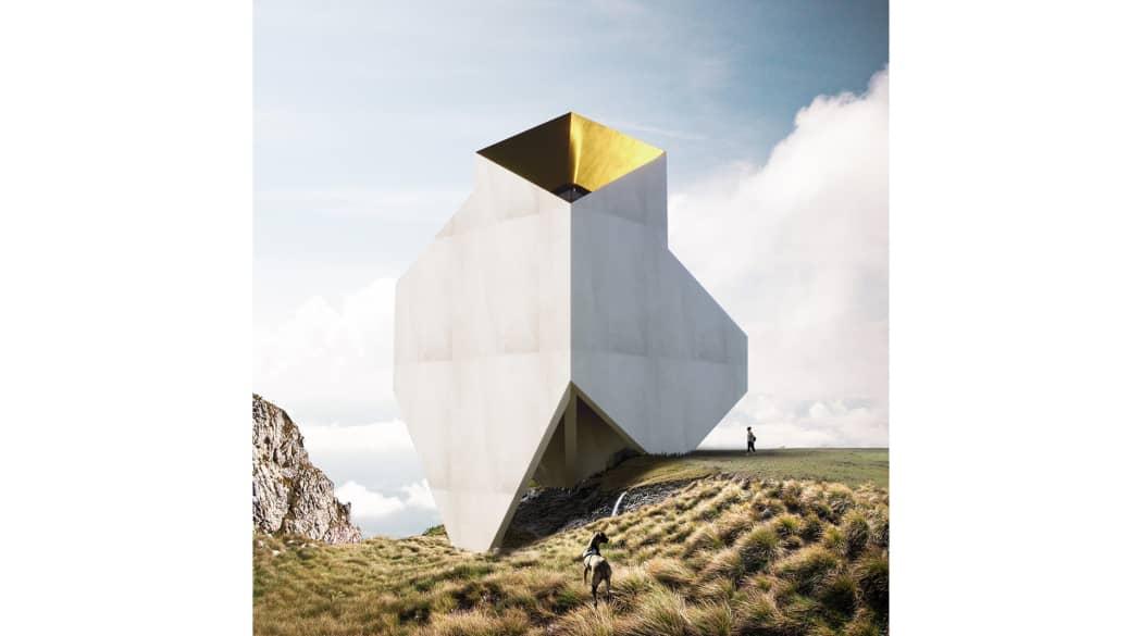 Häuser der Zukunft: Das Museum of Earth von Wafai, ein würfelartiger Trichter mitten in einer felsigen Naturlandschaft