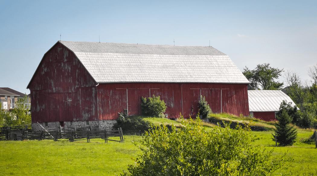 Rote amerikanische Scheune mit Mansardendach