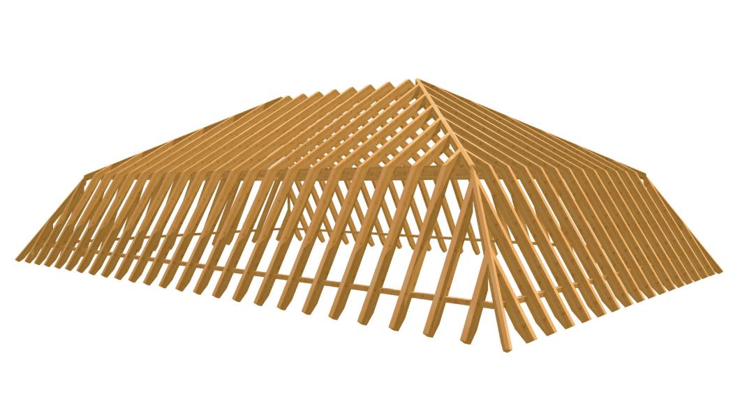 Rohgerüst eines Mansardendach