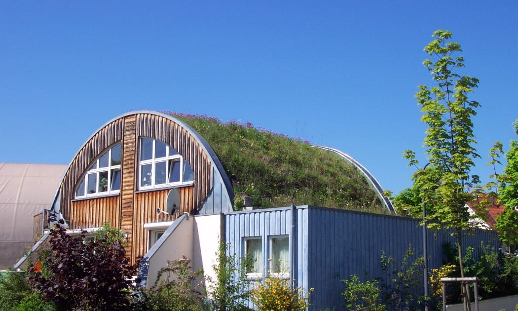 Ein Tonnendach mit Dachbegrünung