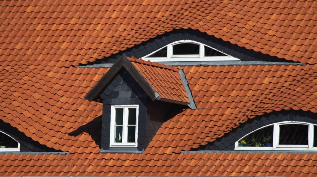 Dachgauben: eine Satteldachgaube und mehrere Fledermausgauben auf einem roten Dach