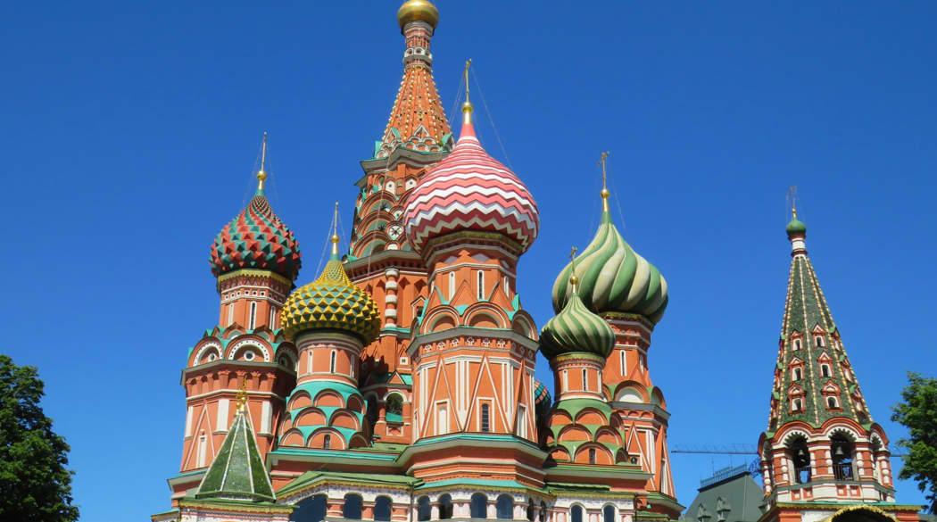 Zwiebeldächer der Basilius Kathedrale in Moskau