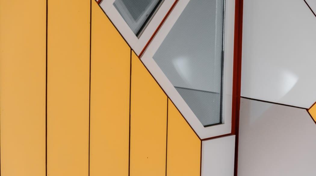 Detailaufnahme der Fassade der Kubushäuser in Rotterdam
