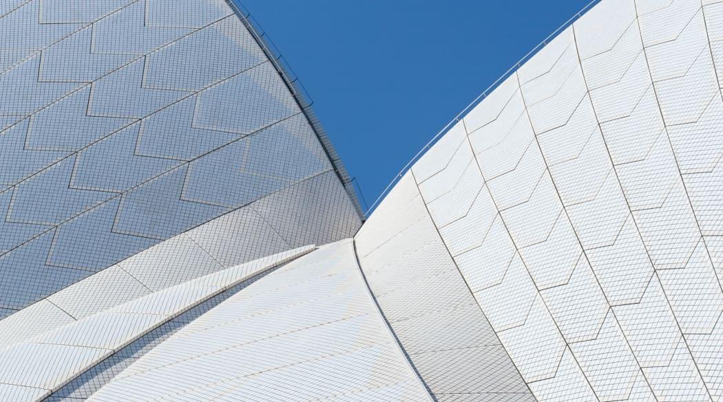 Detailaufnahme des Dachdes der Oper in Sydney
