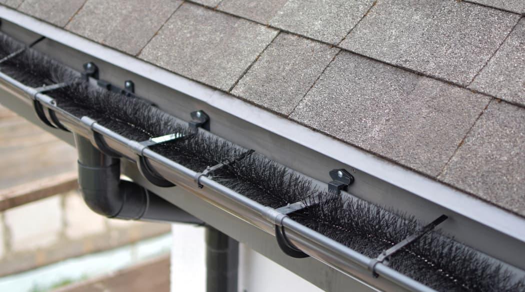 Dachentwässerung: eine Marderbürste liegt in einer Dachrinne