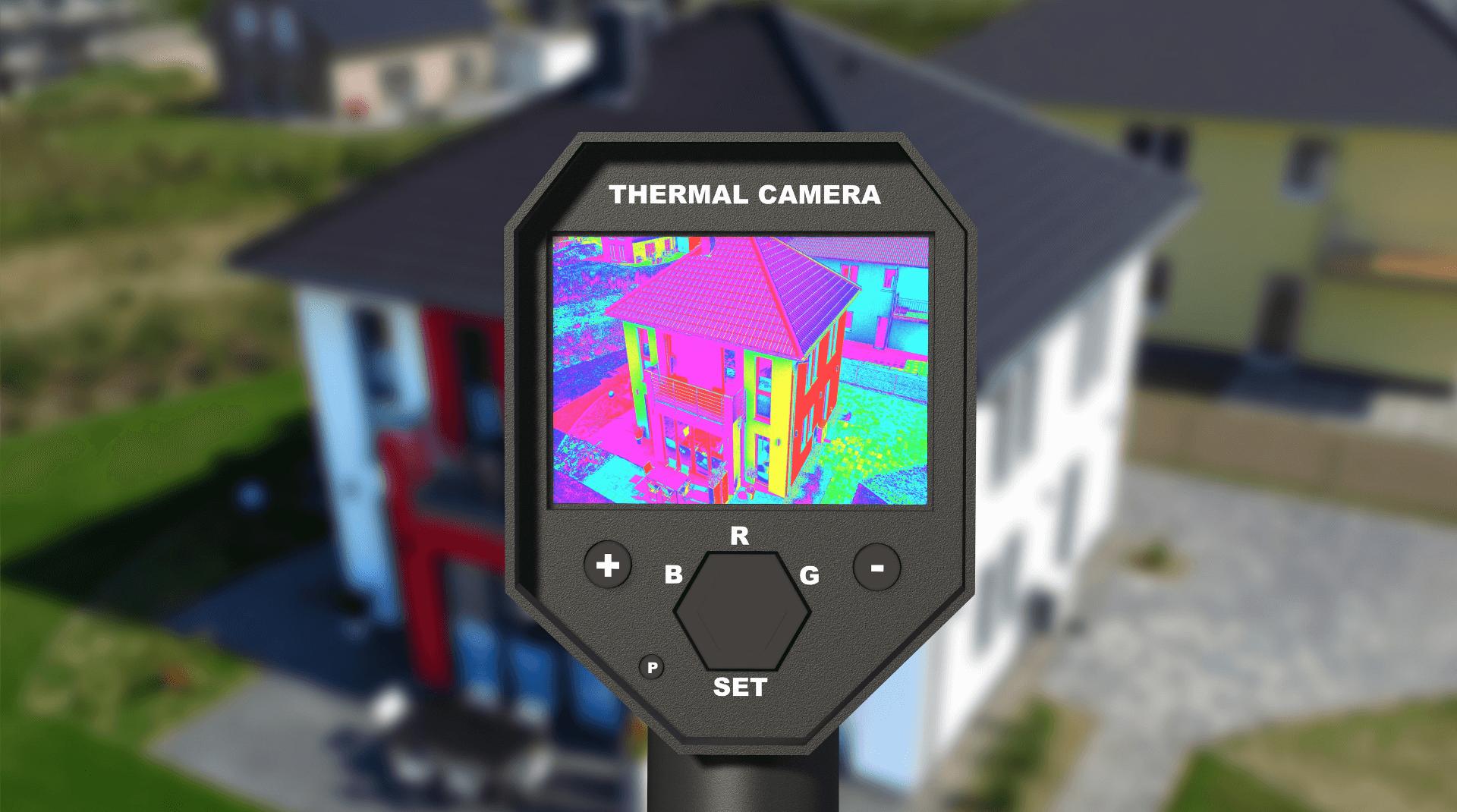Thermografie eines modernen Hauses