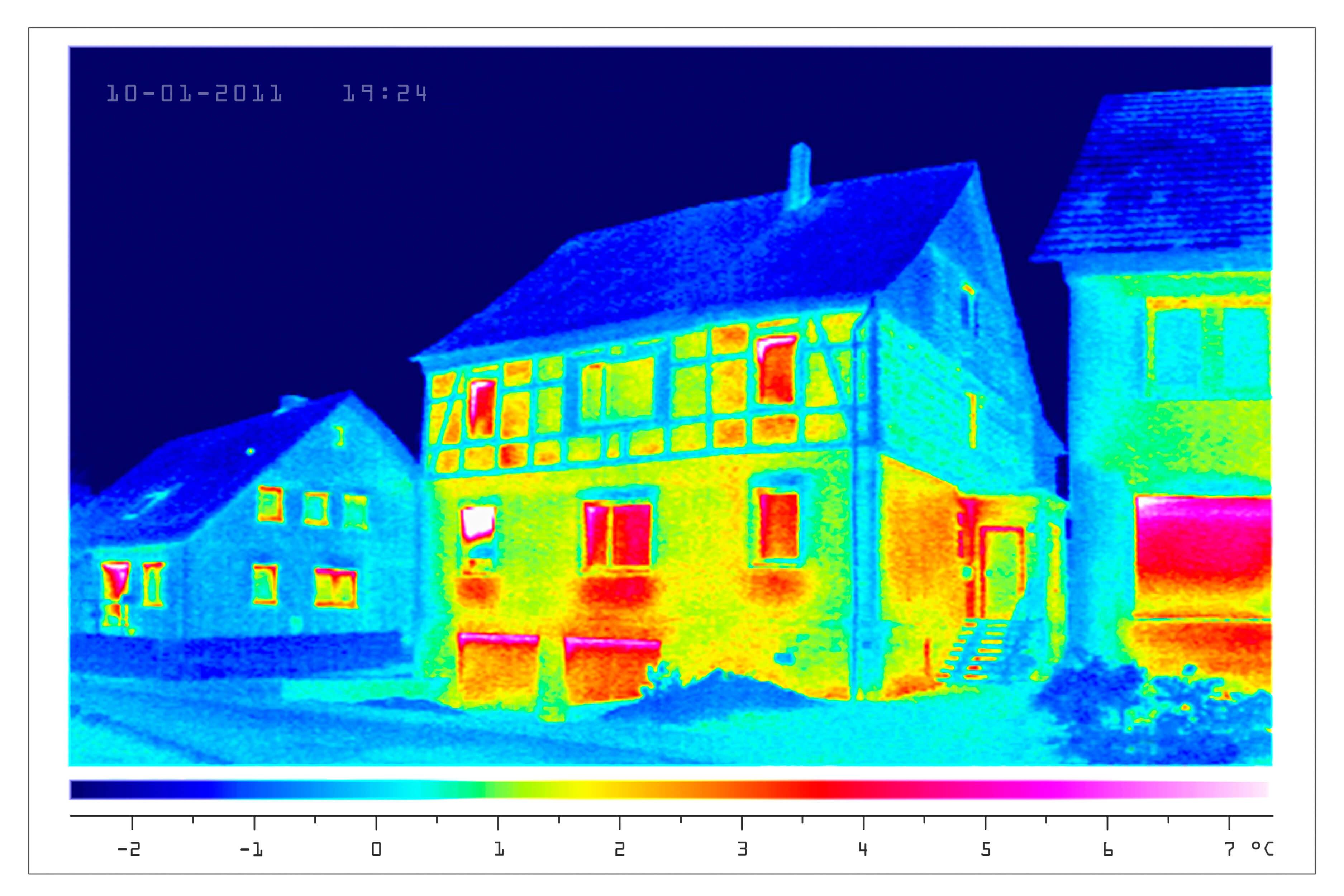 Thermografie eines alten Hauses