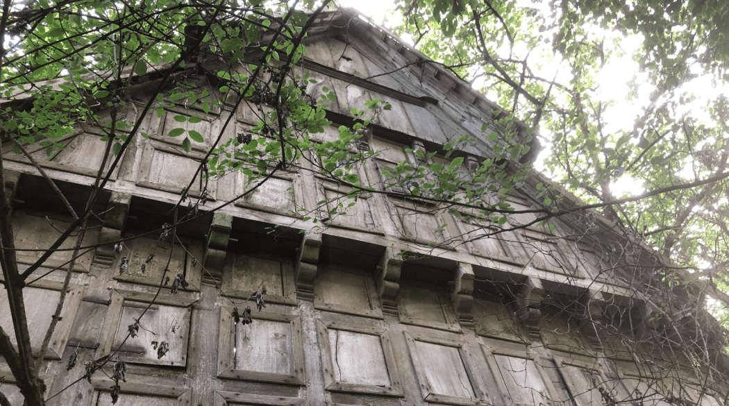 Resthof Talge: Giebel von unten