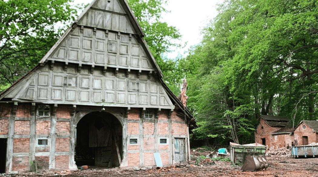 Resthof Talge: Giebelseite Stall