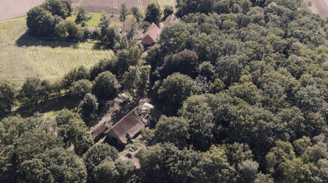Resthof Talge: Luftansicht Haus im Wald